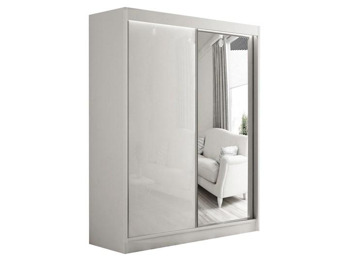 Szafa przesuwna Velvet 200 cm z lustrem lacobelem do sypialni Drewno Typ drzwi Przesuwane Płyta MDF Kolor Szary