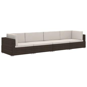 vidaXL 4-częściowa sofa do ogrodu, z poduszkami, polirattan, brązowa