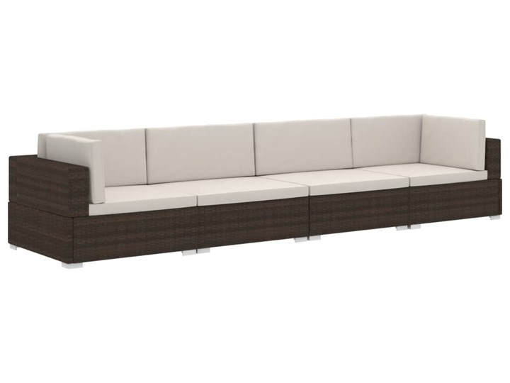 vidaXL 4-częściowa sofa do ogrodu, z poduszkami, polirattan, brązowa Stal Technorattan Tworzywo sztuczne Zestawy wypoczynkowe Zestawy modułowe Kategoria Zestawy mebli ogrodowych