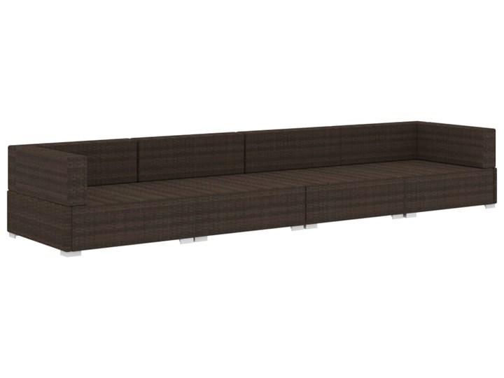 vidaXL 4-częściowa sofa do ogrodu, z poduszkami, polirattan, brązowa Stal Tworzywo sztuczne Zestawy modułowe Zestawy wypoczynkowe Technorattan Kategoria Zestawy mebli ogrodowych