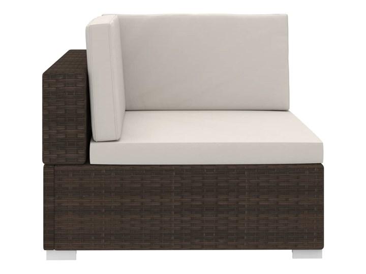vidaXL 4-częściowa sofa do ogrodu, z poduszkami, polirattan, brązowa Stal Tworzywo sztuczne Zestawy modułowe Zestawy wypoczynkowe Technorattan Kolor Beżowy