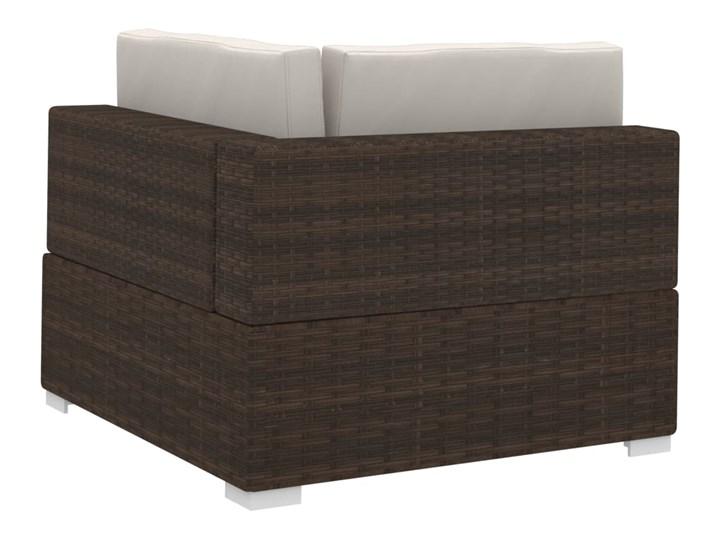 vidaXL 4-częściowa sofa do ogrodu, z poduszkami, polirattan, brązowa Zestawy wypoczynkowe Tworzywo sztuczne Technorattan Zestawy modułowe Stal Kolor Brązowy