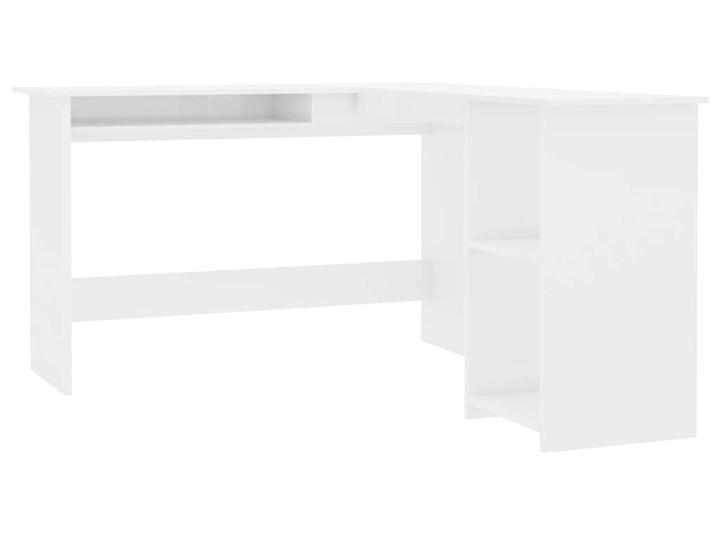 vidaXL Biurko narożne, wysoki połysk, białe, 120x140x75 cm