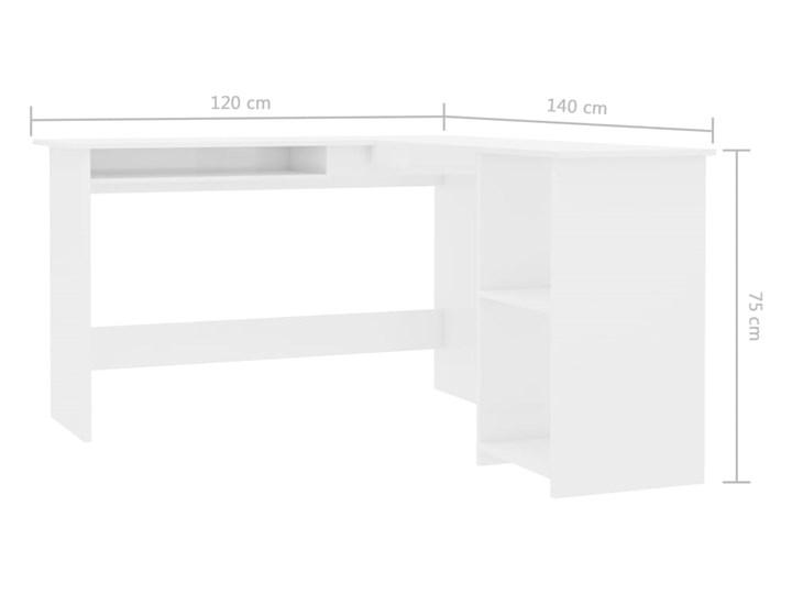 vidaXL Biurko narożne, wysoki połysk, białe, 120x140x75 cm Szerokość 120 cm Głębokość 120 cm Płyta MDF Kolor Biały