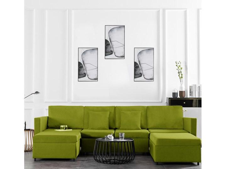 vidaXL 4-osobowa sofa rozkładana, obita tkaniną, zielona Kategoria Sofy i kanapy