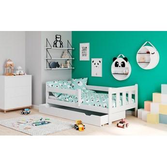 Drewniane łóżko dziecięce z szufladą w kolorze białym Marinella