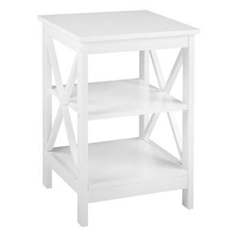 Stolik biały matowy 60 x 40 cm kwadratowy blat 2 półki styl nowoczesny