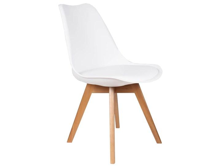 NOWOCZESNE KRZESŁO 53E-7 BIAŁE Tworzywo sztuczne Drewno Głębokość 42 cm Tkanina Skóra Krzesło inspirowane Szerokość 48 cm Kategoria Krzesła kuchenne