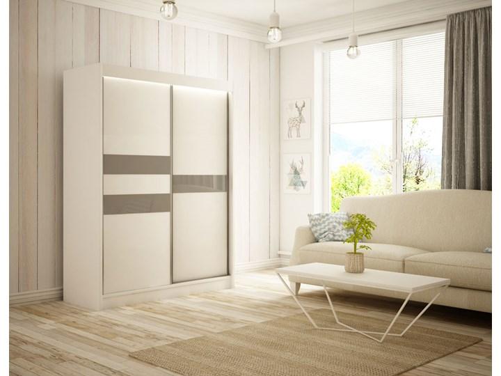 Szafa przesuwna Arnold 200 cm sypialnia szkło lacobel Drewno Płyta MDF Kolor Beżowy