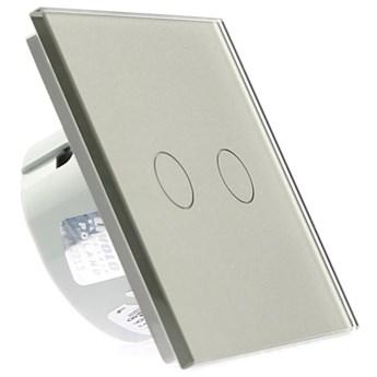 Włącznik dotykowy szklany poczwórny 2+2 biały