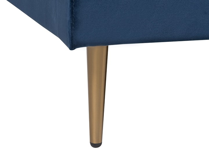 Łóżko ze stelażem niebieskie tapicerowane welurem złote nóżki 160 x 200 cm wysokie wezgłowie retro design Łóżko tapicerowane Kolor Złoty Kolor Granatowy