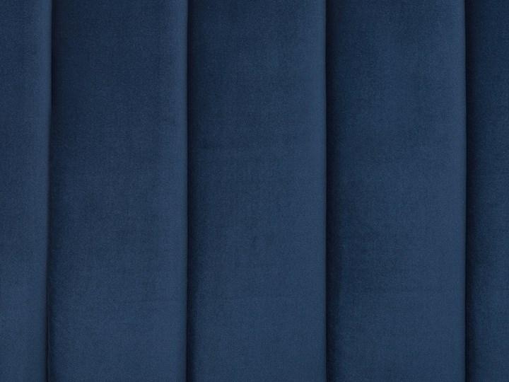Łóżko ze stelażem niebieskie tapicerowane welurem złote nóżki 160 x 200 cm wysokie wezgłowie retro design Łóżko tapicerowane Kolor Granatowy Kolor Złoty