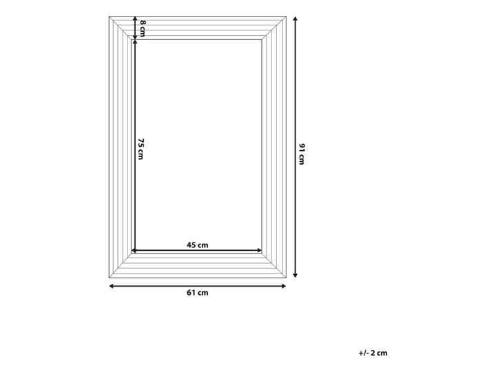 Lustro ścienne wiszące srebrne 61 x 91 cm łazienka sypialnia toaletka Kolor Srebrny Prostokątne Lustro z ramą Kategoria Lustra
