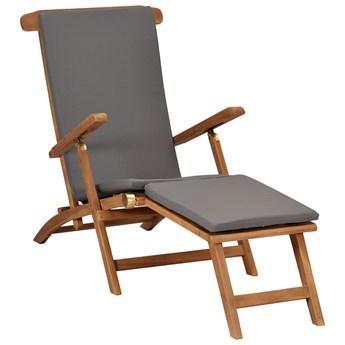 vidaXL Leżak z poduszką, kolor ciemnoszary, lite drewno tekowe