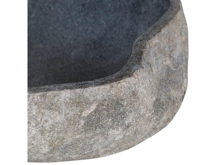 vidaXL Owalna umywalka z kamienia rzecznego, 46-52 cm Kamień naturalny Owalne Kategoria Umywalki Kolor Czarny