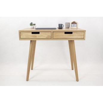 Designerskie Dębowe Biurko Skandynawskie Lea z dwiema szufladami - dębowe fronty, w stylu skandynawskim, drewniane