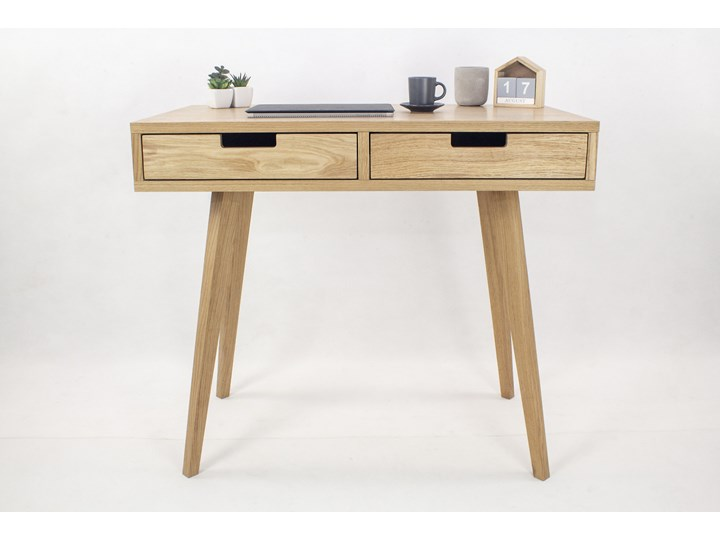 Designerskie Dębowe Biurko Skandynawskie Lea z dwiema szufladami - dębowe fronty, w stylu skandynaws ...