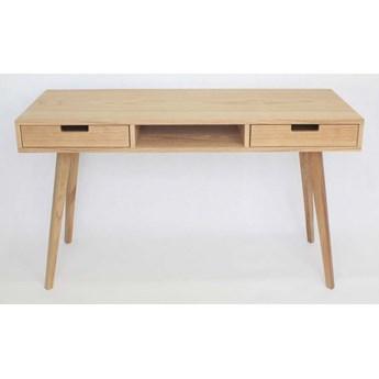 Drewniane Biurko Skandynawskie Dębowe Wide z dwiema szufladami i półką - dębowe fronty, styl skandynawski