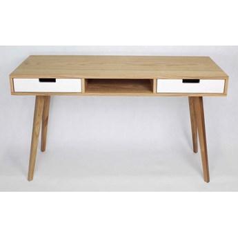 Nowoczesne Dębowe Drewniane Biurko Skandynawskie Wide z dwiema białymi szufladami i półką, styl skandynawski