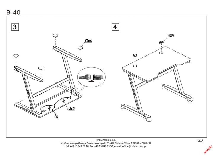 Gamingowe biurko z oświetleniem LED B40 Szerokość 100 cm Biurko z nadstawką Stal Biurko komputerowe Biurko gamingowe Głębokość 60 cm Płyta MDF Metal Pomieszczenie Pokój nastolatka