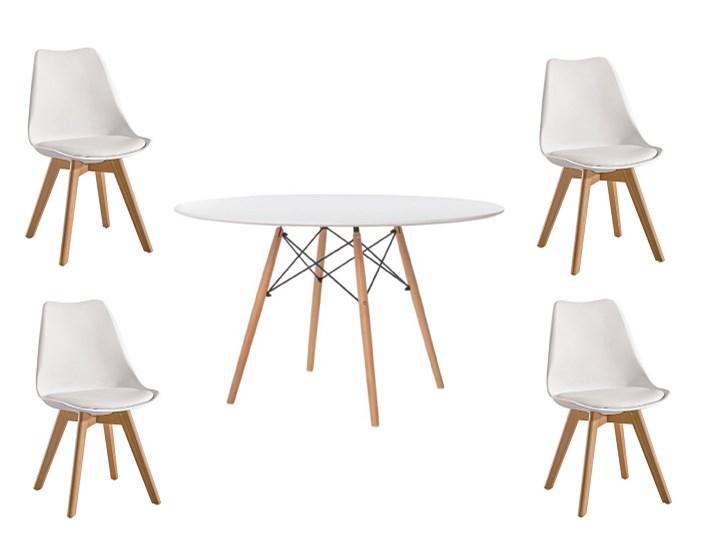 Skandynawski zestaw stół okrągły Milano Paris 100cm + 4 krzesła Kris Lugano