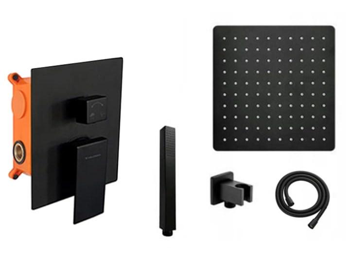 VELDMAN CZARNY ZESTAW PODTYNKOWY QUADRO BLACK Wyposażenie Z deszczownicą Wyposażenie Z uchwytem