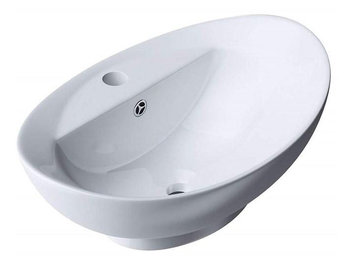 VELDMAN UMYWALKA CERAMICZNA NABLATOWA CLARA Nablatowe Owalne Meblowe Ceramika Szerokość 59 cm Kategoria Umywalki Kolor Biały