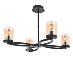 Nowoczesna czarna industrialna lampa sufitowa loft  avonni AV-1719-4-BSY  salon sypialnia jadalnia