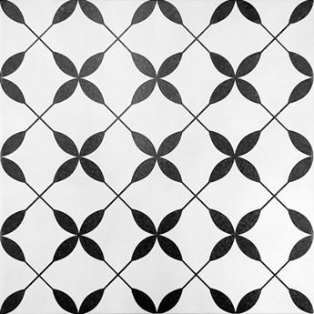 Gres szkliwiony PATCHWORK BLACK&WHITE FLOWER 29,8x29,8 gat. II Ce