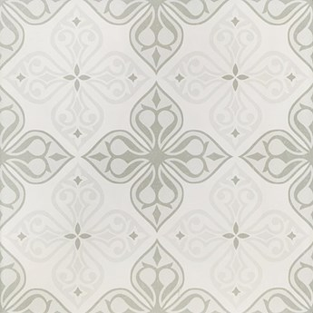 Gres szkliwiony PATCHWORK CONCEPT white-grey flores satin 29,8x29,8 g