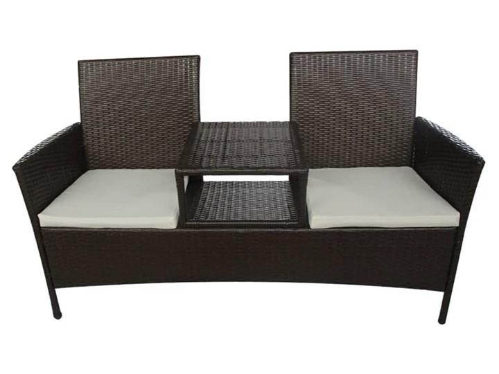 vidaXL Dwuosobowa sofa ogrodowa ze stolikiem, rattan PE, brązowa Stal Kolor Brązowy