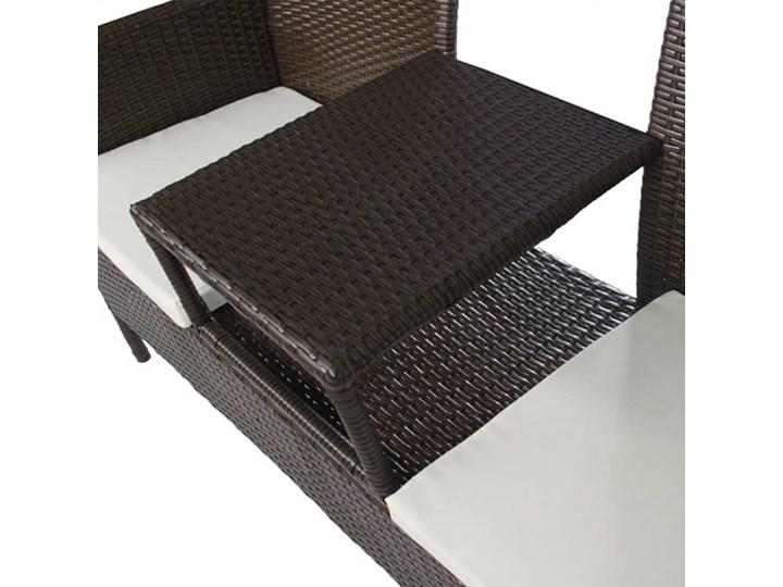vidaXL Dwuosobowa sofa ogrodowa ze stolikiem, rattan PE, brązowa Stal Kolor Brązowy Kategoria Ławki ogrodowe