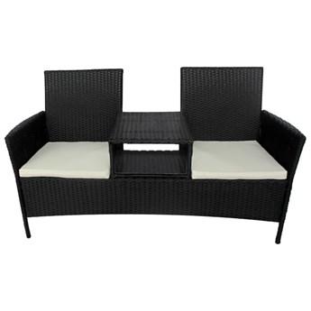 vidaXL Dwuosobowa sofa ogrodowa ze stolikiem, rattan PE, czarna