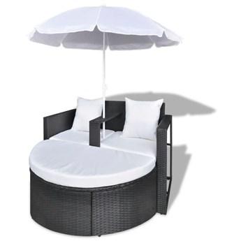 vidaXL Rattanowa sofa z parasolem (Czarna)