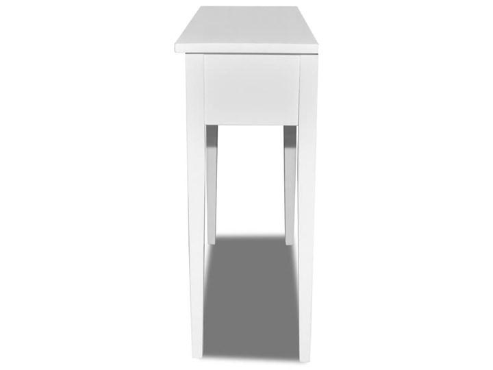 vidaXL Konsola z dwoma szufladami, biała Sosna Drewno Z szufladą Płyta MDF Kolor Biały