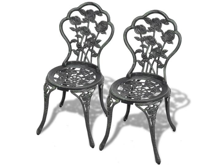 vidaXL 3-cz. zestaw mebli bistro ze stopu aluminium, zielony Styl Klasyczny Żeliwo Stoły z krzesłami Kolor Czarny