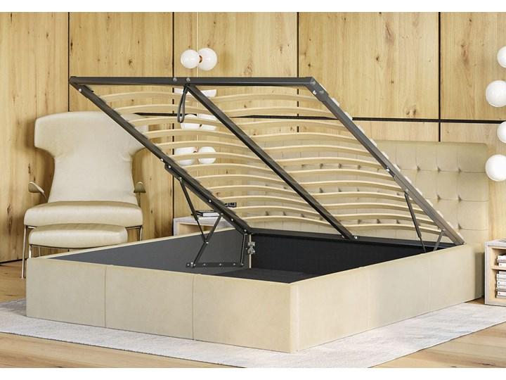 Nowoczesne łóżko do sypialni z pojemnikiem VERO / kolory do wyboru Drewno Tkanina Metal Kolor Szary