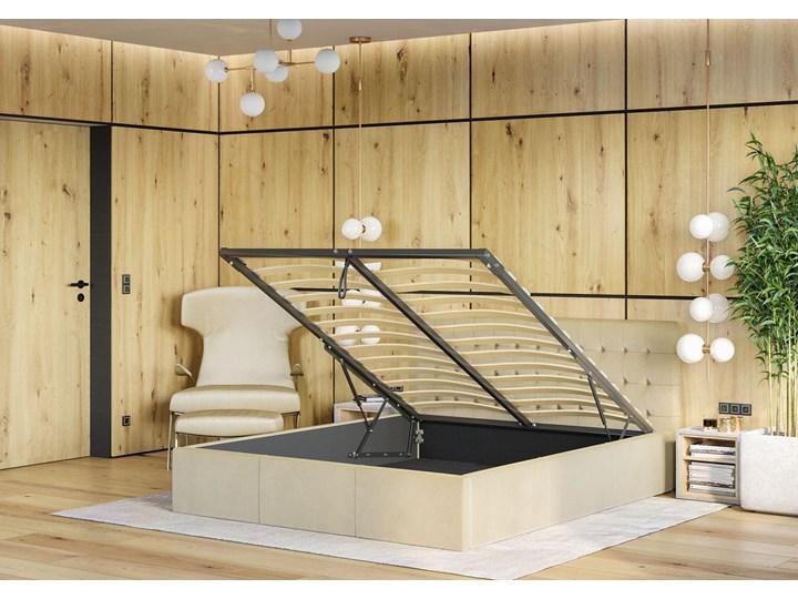Nowoczesne łóżko do sypialni z pojemnikiem VERO / kolory do wyboru Metal Tkanina Drewno Kolor Szary