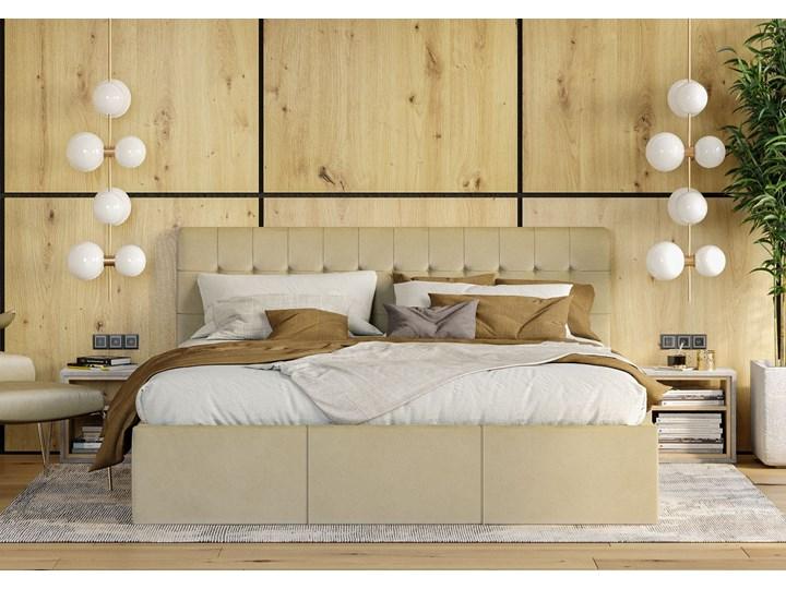 Nowoczesne łóżko do sypialni z pojemnikiem VERO / kolory do wyboru Metal Drewno Tkanina Kolor Szary Rozmiar materaca 160x200 cm
