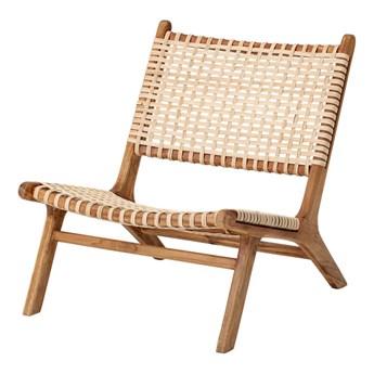 Fotel Keila z drewna tekowego i rattanu naturalny drewno 72x58x77 cm