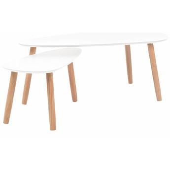 vidaXL Zestaw stolików kawowych, 2 szt., biały, lite drewno sosnowe