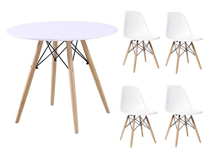 HOME DECOR ZESTAW PARIS STÓŁ 90 CM + 4 KRZESŁA NA NOGACH BUKOWYCH DSW DSR Kategoria Stoły z krzesłami