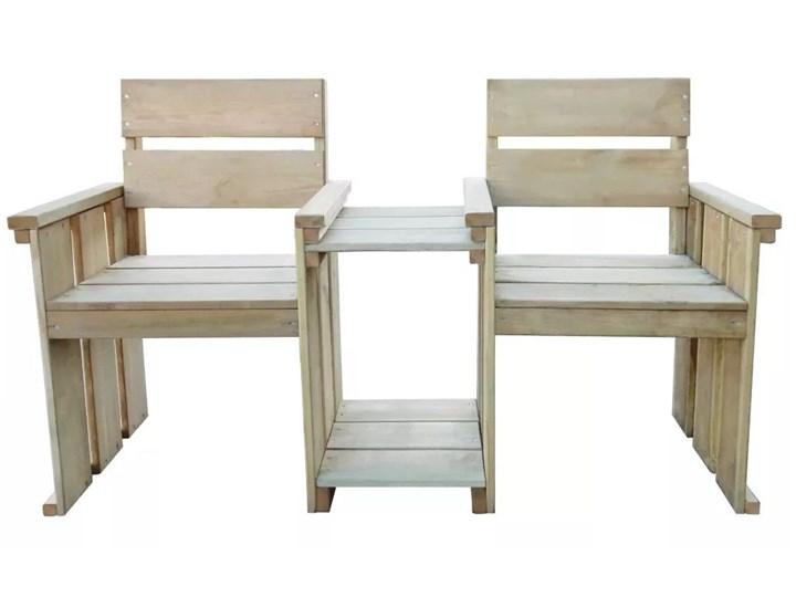 Drewniana ławka ogrodowa Larius - zielona Z oparciem Drewno Długość 150 cm Styl Rustykalny