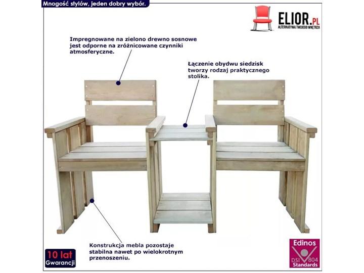 Drewniana ławka ogrodowa Larius - zielona Drewno Długość 150 cm Styl Rustykalny Z oparciem Kategoria Ławki ogrodowe