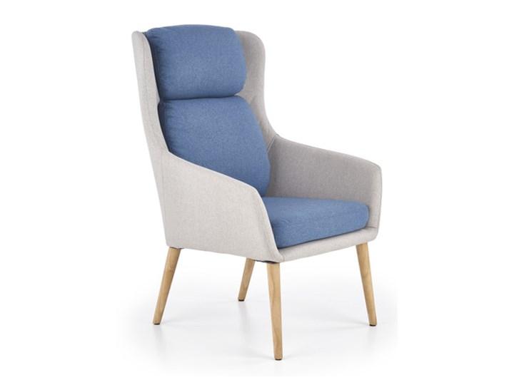Fotel Purio Niebieski Drewno Fotel tradycyjny Tkanina Wysokość 103 cm Fotel uszak Głębokość 45 cm Głębokość 75 cm Kolor Szary