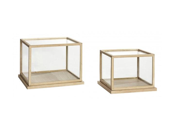 Hübsch - Zestaw dwóch witryn Szkło Kategoria Świeczniki i świece Drewno Kolor Beżowy