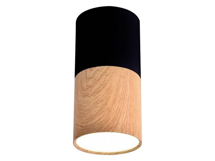 Oprawa natynkowa Tuba 1 x 50 W GU10 czarno-drewniana Oprawa stropowa Okrągłe Kolor Czarny