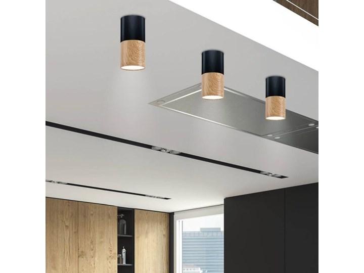 Oprawa natynkowa Tuba 1 x 50 W GU10 czarno-drewniana Okrągłe Kolor Czarny Oprawa stropowa Kategoria Oprawy oświetleniowe