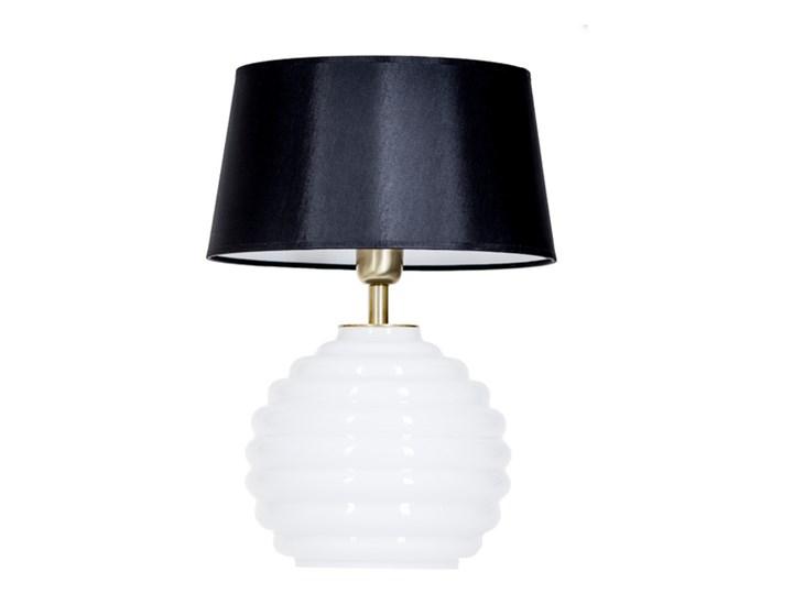 Lampka stołowa Antibes z białego szkła Czarny Lampa nocna Wysokość 42 cm Wysokość 16 cm Lampa z abażurem Styl Nowoczesny