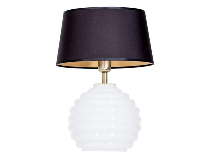 Lampka stołowa Antibes z białego szkła Czarny Lampa nocna Styl Nowoczesny Lampa z abażurem Wysokość 42 cm Wysokość 16 cm Styl Glamour